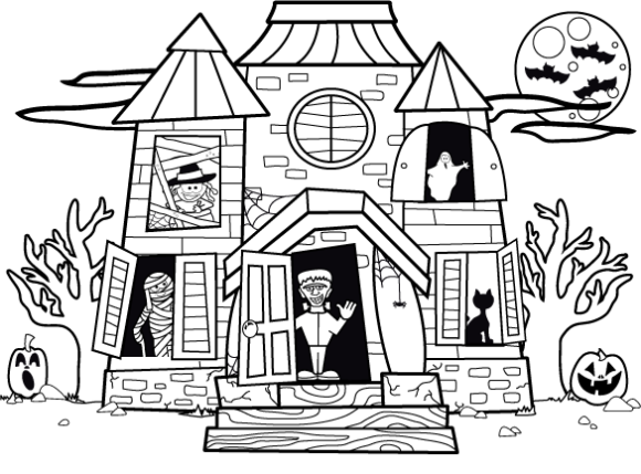 printable haunted house coloring pages printable haunted house coloring pages for kids cool2bkids pages house printable coloring haunted