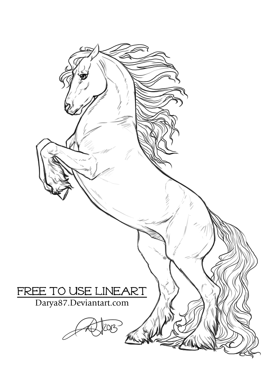 rearing horse coloring pages free to use lineart rearing frisian by darya87 on deviantart rearing pages coloring horse