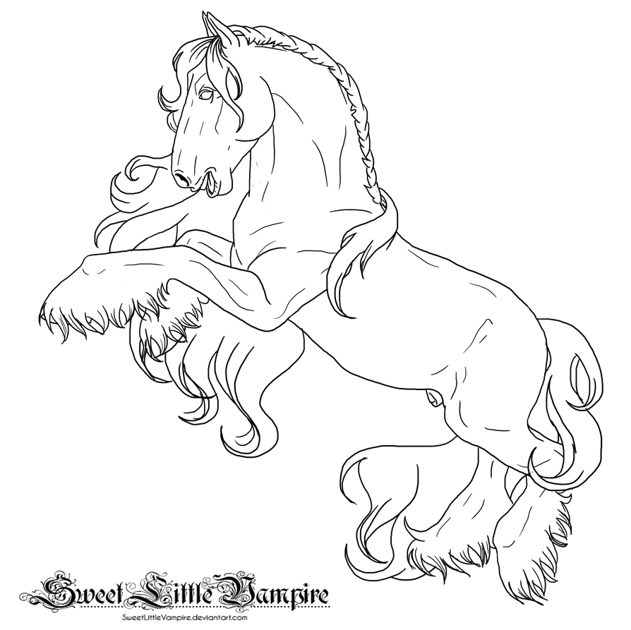 rearing horse coloring pages rearing draft lineart by sweetlittlevampire on deviantart coloring pages rearing horse
