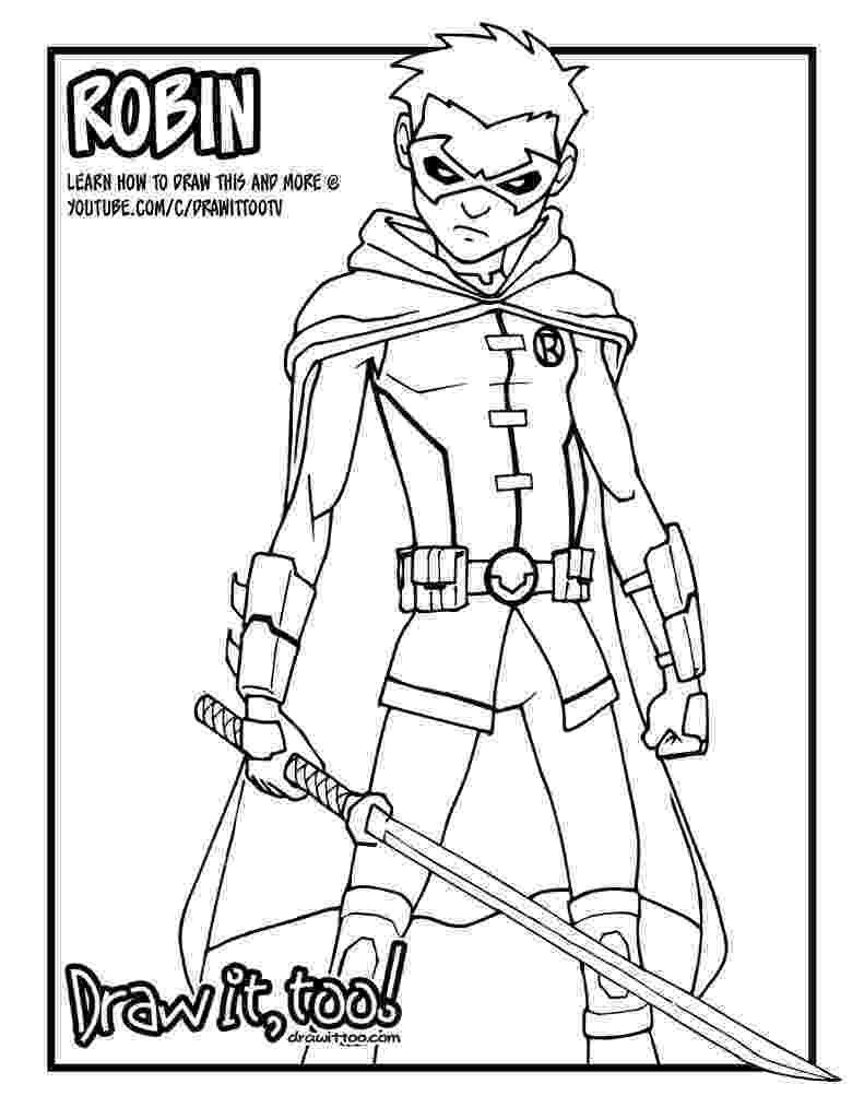 robin coloring pages damian wayne robin comic version tutorial draw it too pages robin coloring