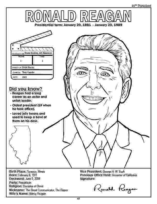 ronald reagan coloring pages lil39 fingers coloring president39s coloring pages pages coloring ronald reagan