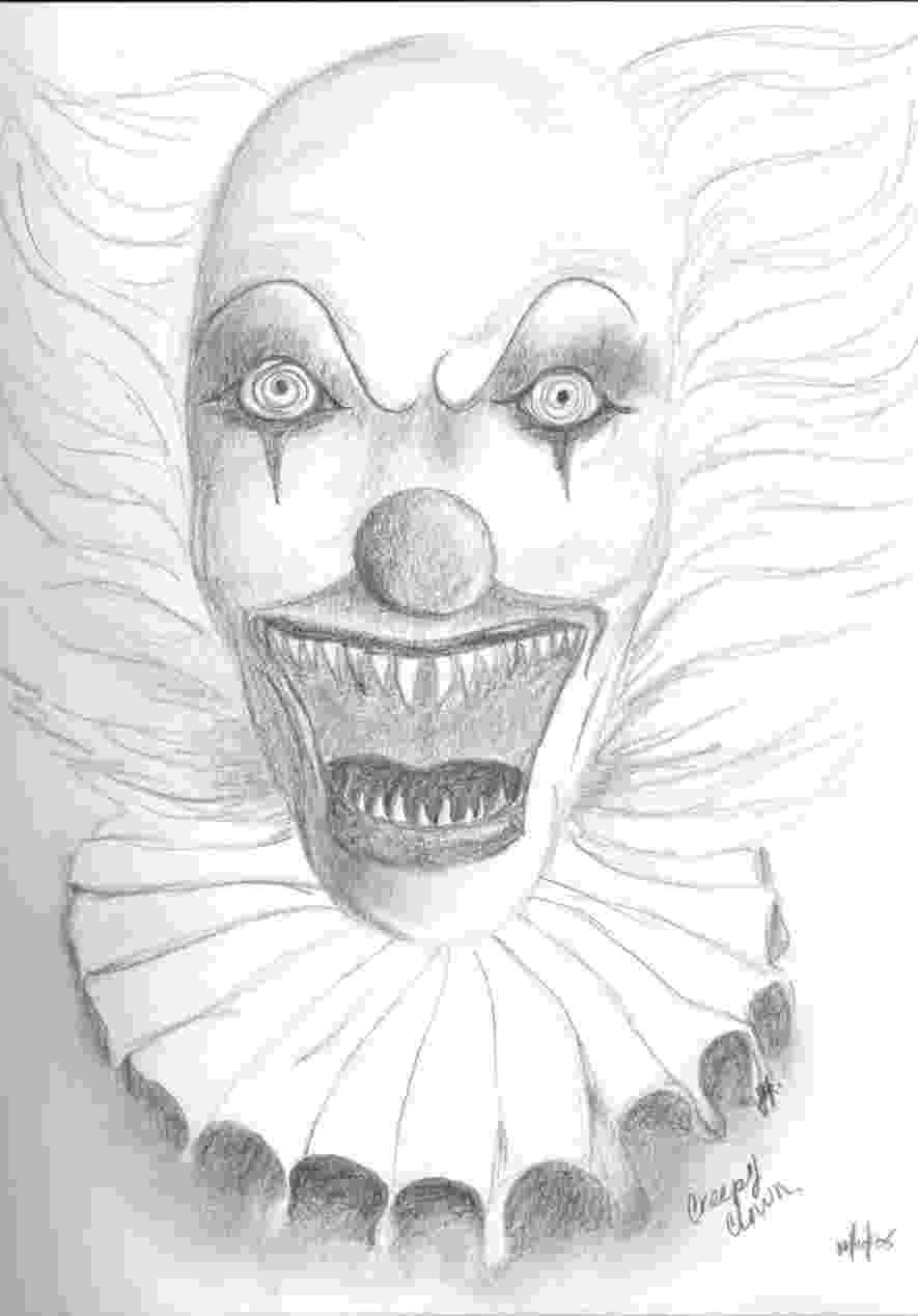 scary clown coloring page drawnwest clowns page coloring scary clown