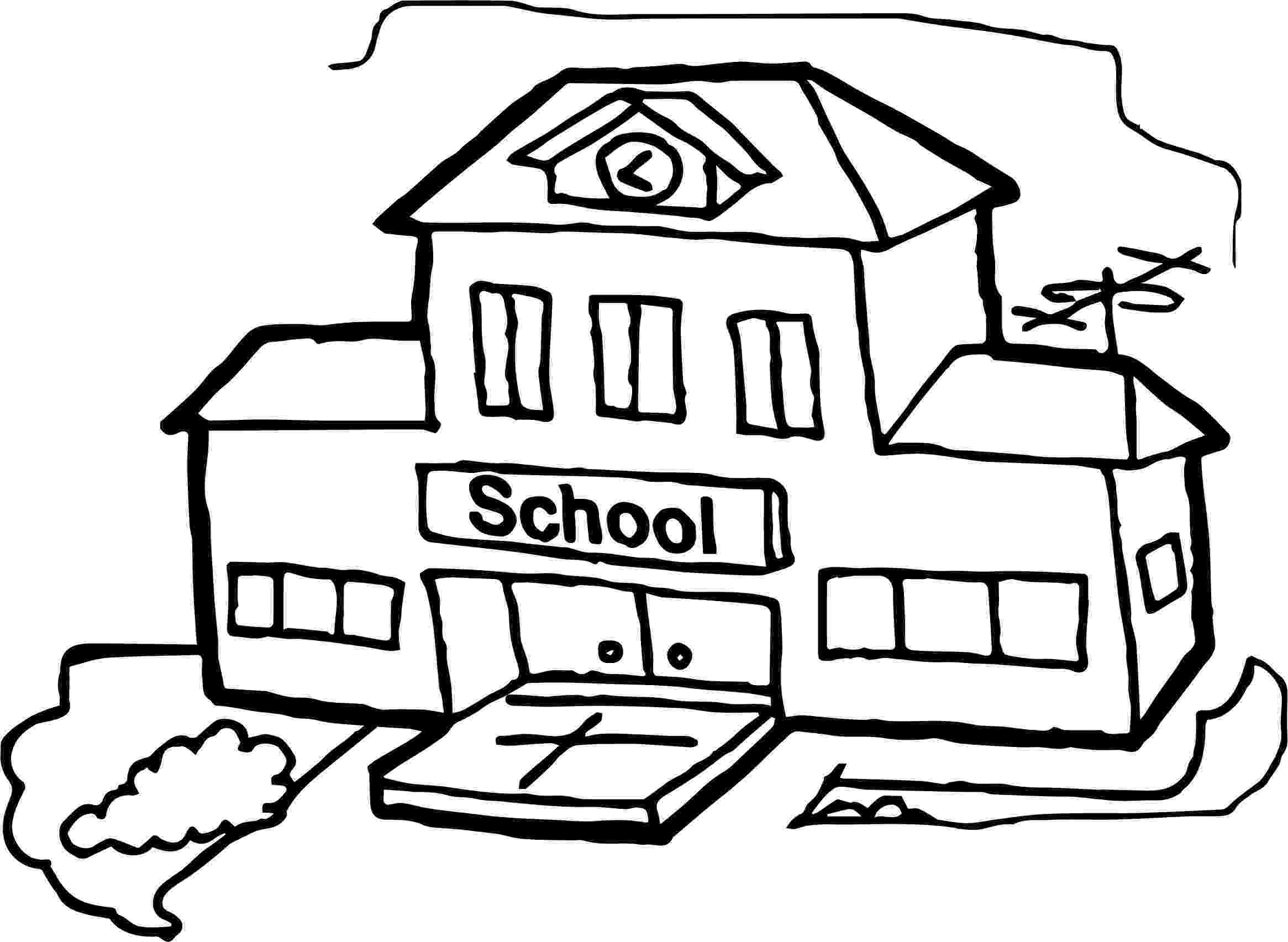 school building coloring pages school line drawing at getdrawingscom free for personal building coloring school pages