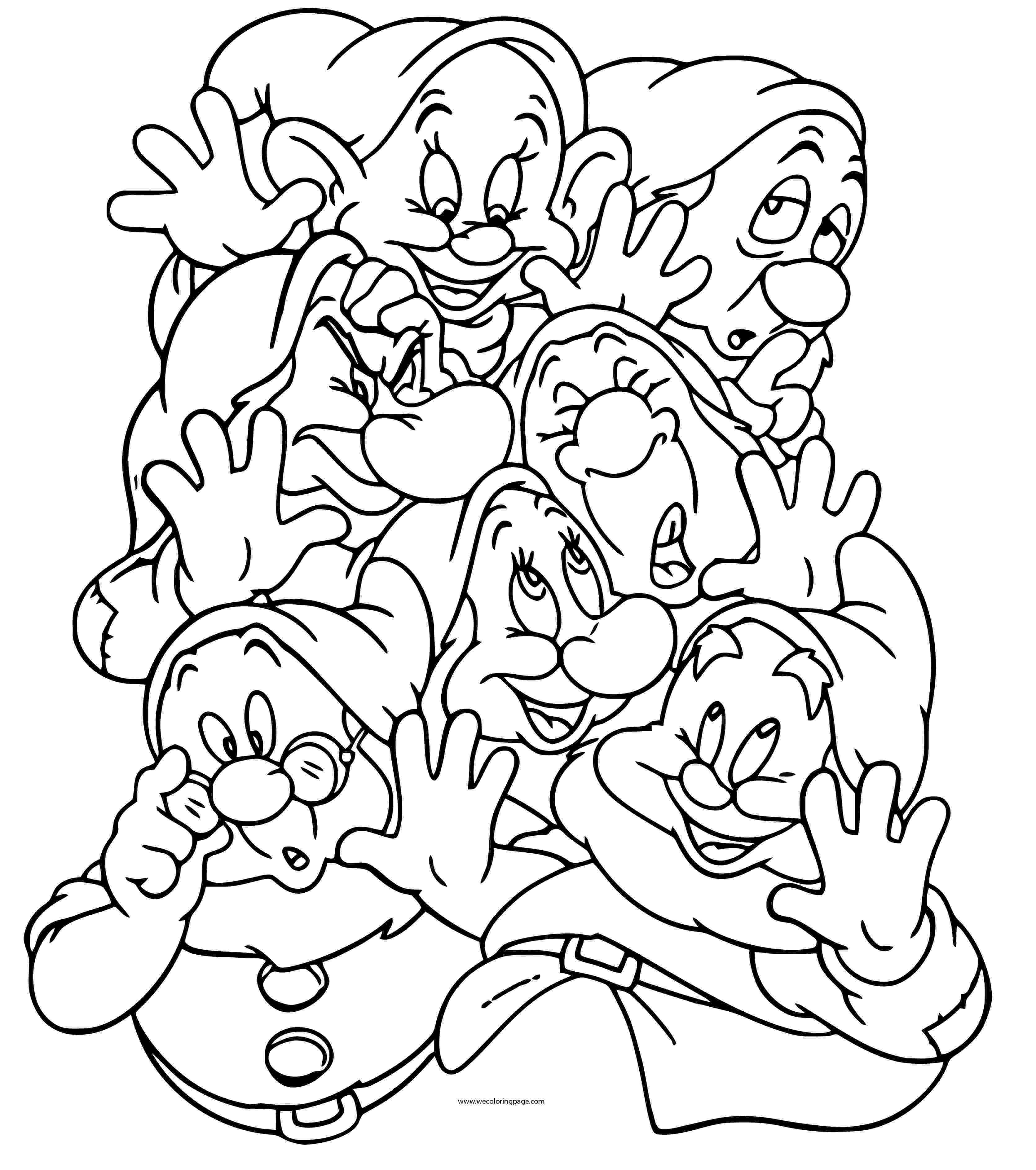 snow white and seven dwarfs coloring pages snow white with her prince coloring pages hellokidscom and pages coloring seven dwarfs snow white