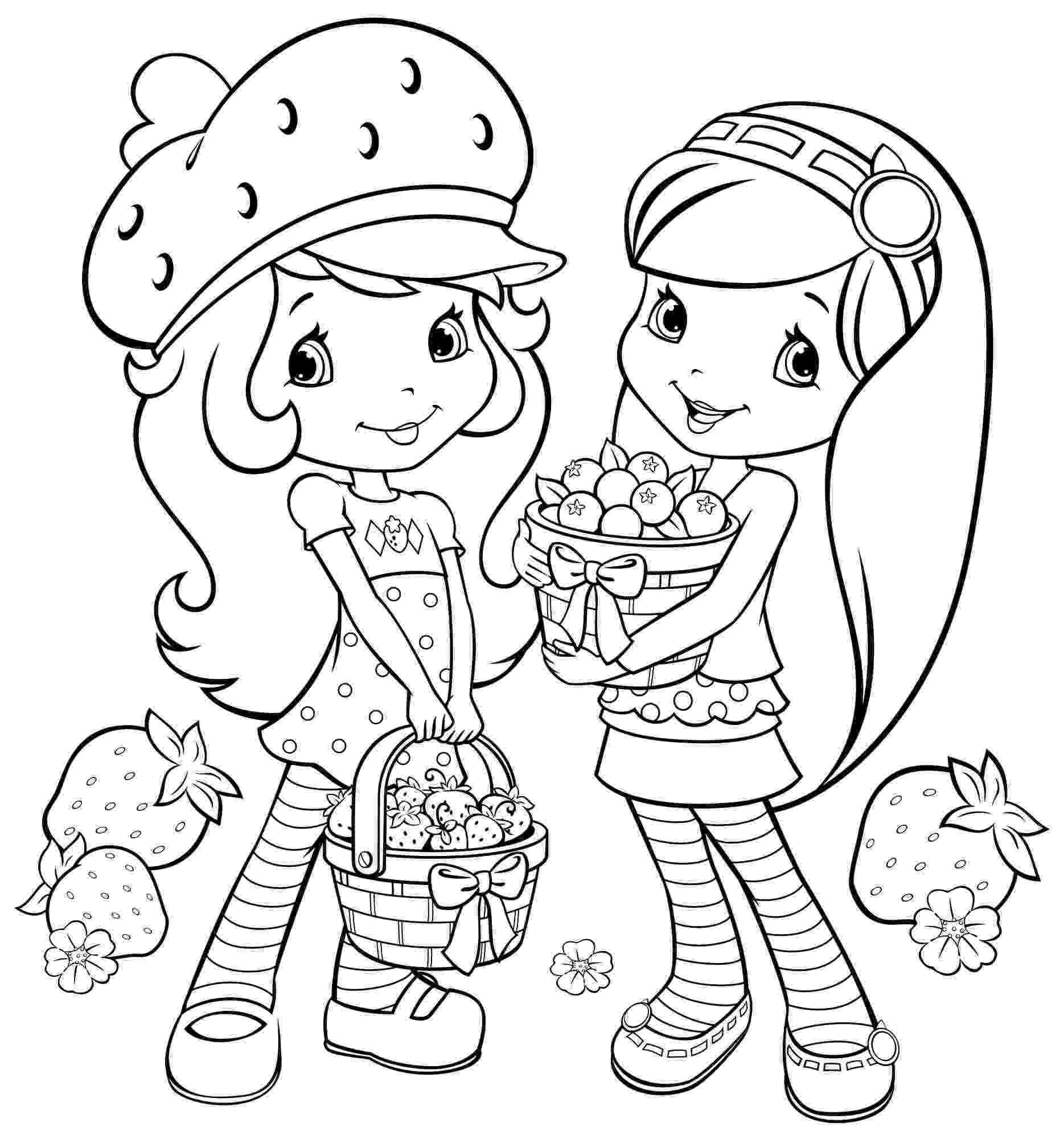 strawberry shortcake and friends coloring pages printable coloring pages cartoon strawberry shortcake and shortcake pages strawberry friends and coloring