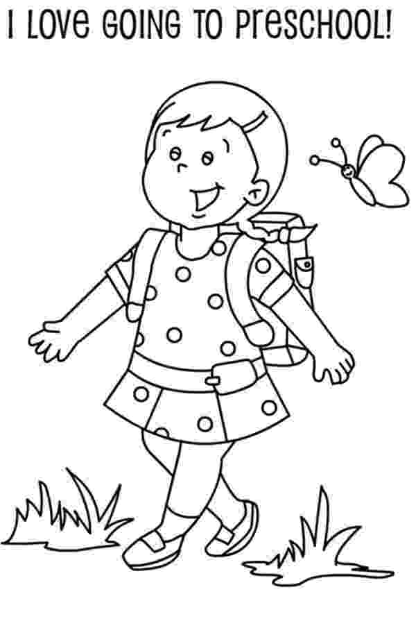 student coloring page a preschool girl student on her first day of school page student coloring