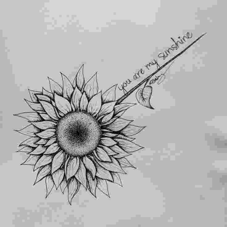 sunflower sketch double sunflower tattoo ink needle addiction sketch sunflower