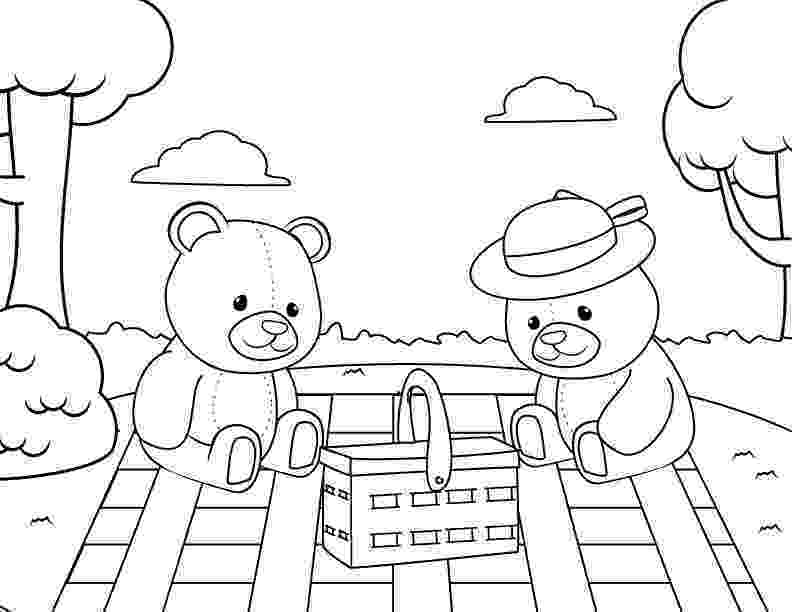 teddy bear picnic coloring pages me and my teddy bear at family picnic coloring pages netart pages coloring teddy bear picnic