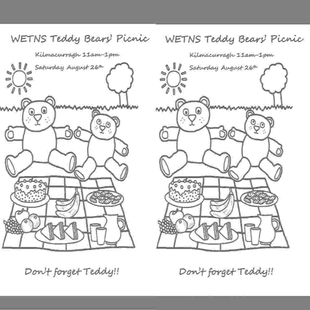 teddy bear picnic coloring pages teddy bears picnic colouring sheet wicklow educate picnic teddy bear pages coloring