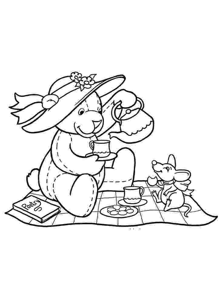 teddy bear picnic coloring pages teddy bears39 picnic colouring card teddy picnic bear coloring pages