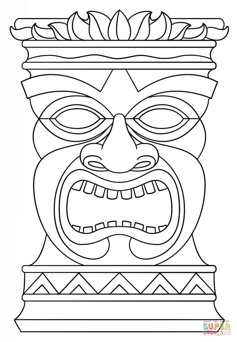 tiki coloring pages hawaiian tiki mask coloring pages download and print for free coloring tiki pages