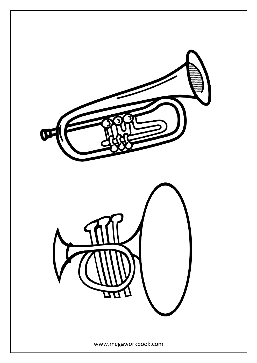 trumpet coloring free coloring sheets musical instruments megaworkbook trumpet coloring