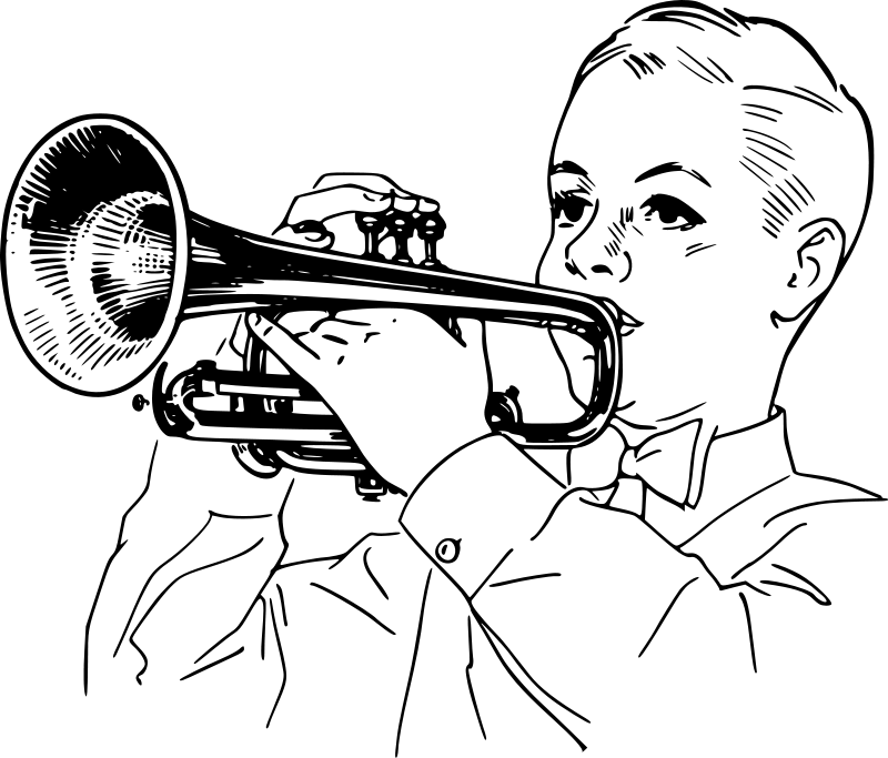 trumpet coloring trumpet clip art black and white clipart panda free trumpet coloring