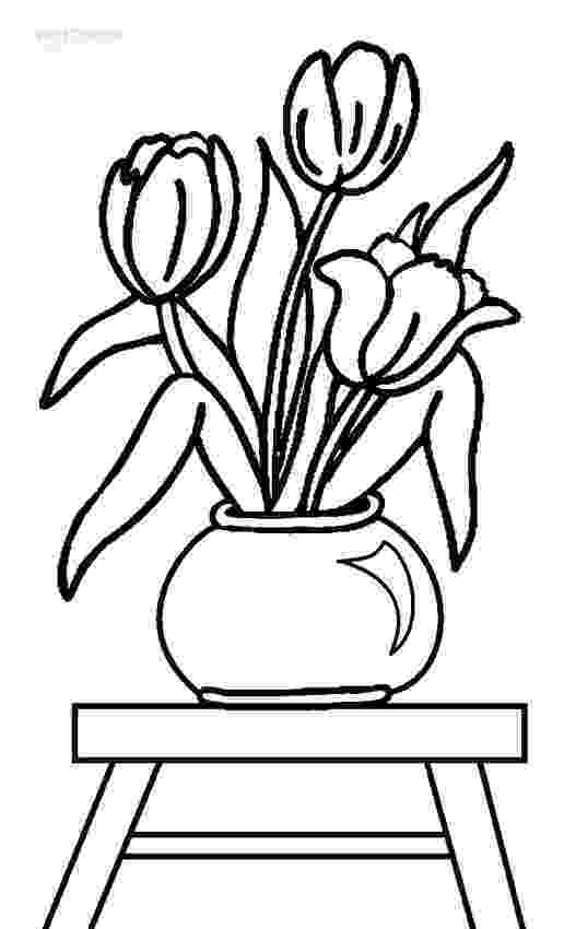tulips to color 8 flower vase template for kids sampletemplatess to tulips color