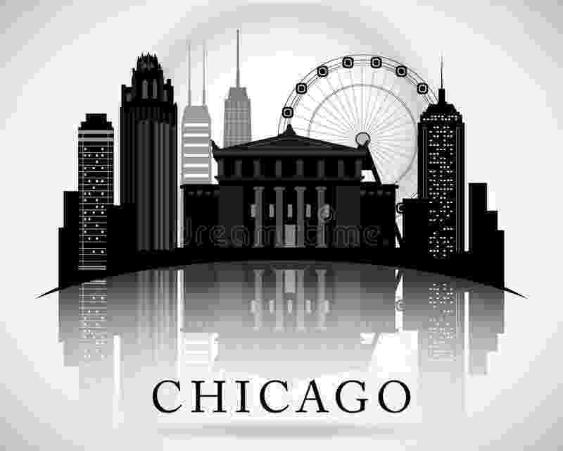 vector illinois chicago illinois usa map in black and white color stock illinois vector