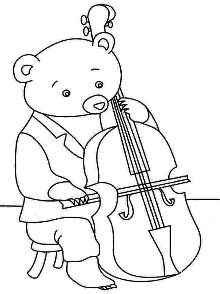 violin pictures to print bear playing violin coloring printable violin pictures print to