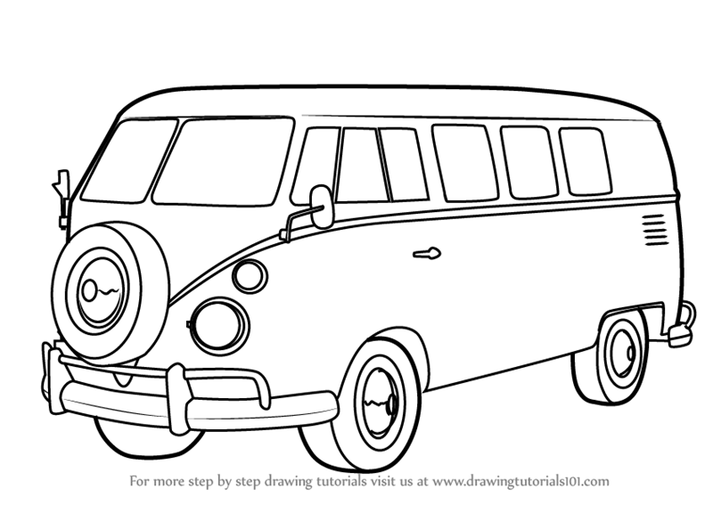 vw bus sketch learn how to draw volkswagen bus other step by step vw sketch bus