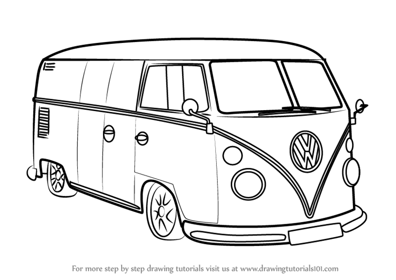 vw bus sketch learn how to draw volkswagen van other step by step vw sketch bus