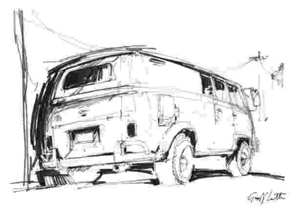 vw bus sketch volkswagen bus paintings fine art america vw sketch bus