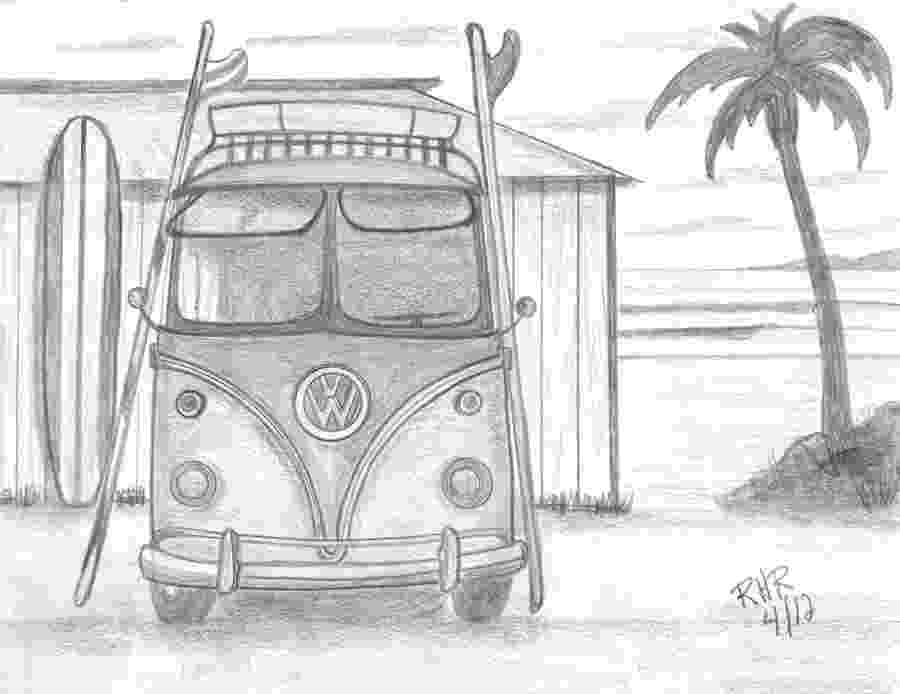 vw bus sketch vw surfing bus drawing by ray ratzlaff sketch bus vw
