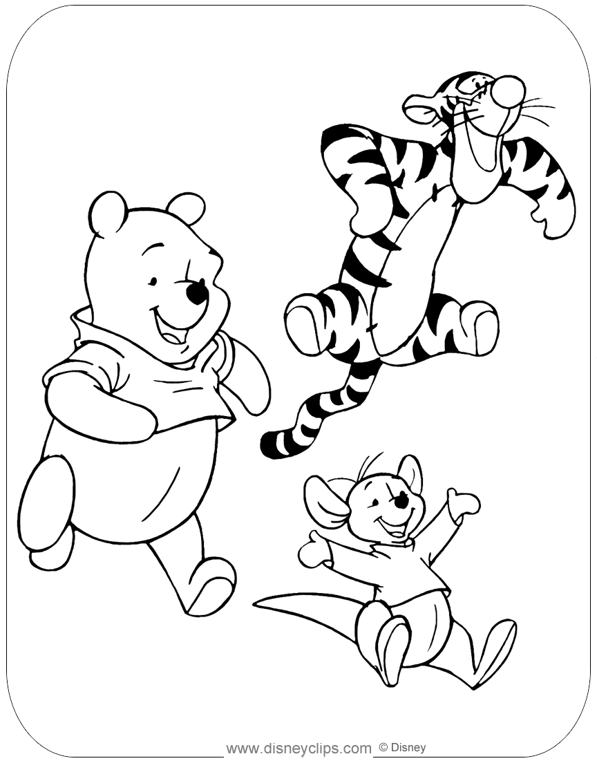 winnie pooh colouring pages winnie the pooh friends coloring pages disneyclipscom colouring winnie pooh pages