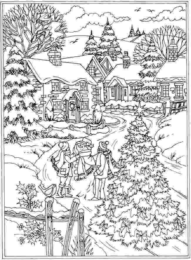winter scene coloring pages winter landscape coloring pages at getcoloringscom free coloring winter pages scene