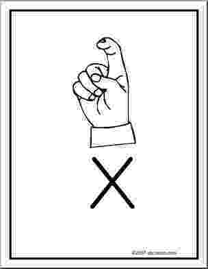 x in sign language poster asl letter x american sign language x in language sign