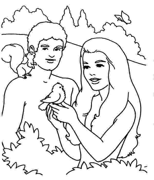 adam and eve coloring pages adam and eve adam and eve playing with bird in the garden adam and coloring eve pages
