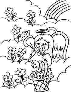angel flower girl coloring book angels boy and girl in heaven with flowers coloring page angel flower coloring book girl