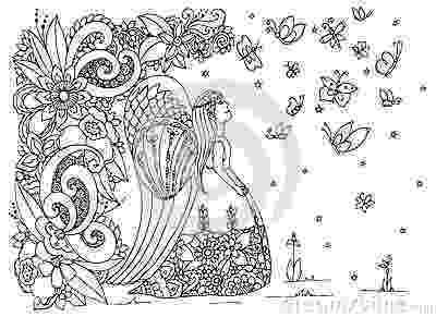 angel flower girl coloring book vector illustration zen tangle angel girl with flowers coloring angel girl book flower