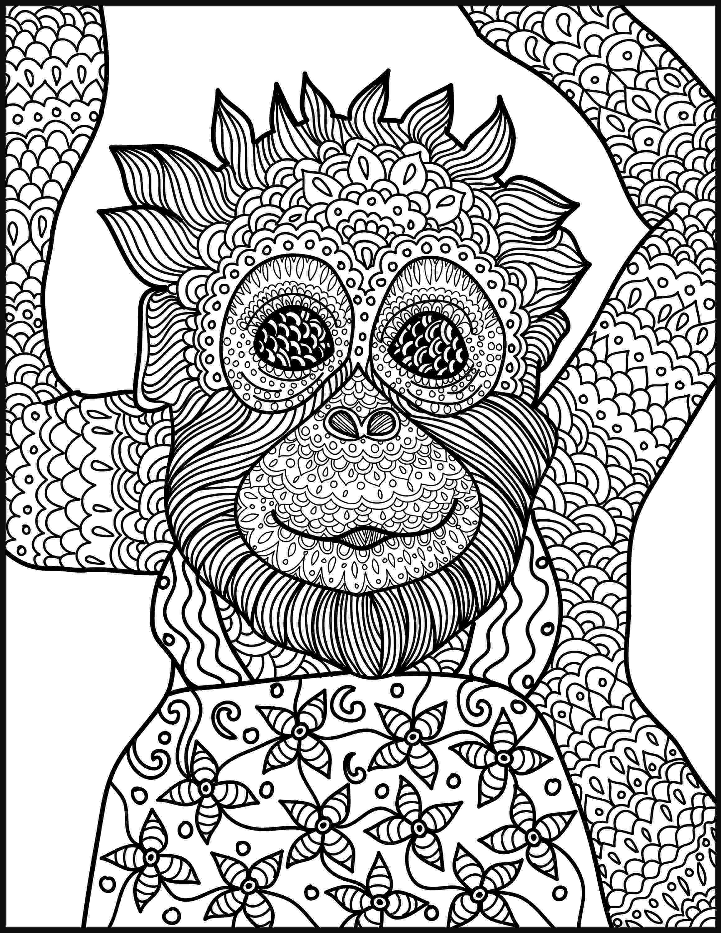animal coloring book for adults animal coloring page monkey printable adult coloring page adults coloring book animal for