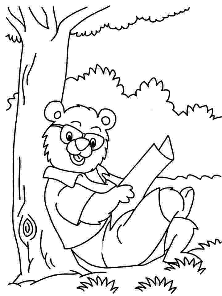 animal reading coloring page bear reading newspaper coloring printable page coloring reading animal page