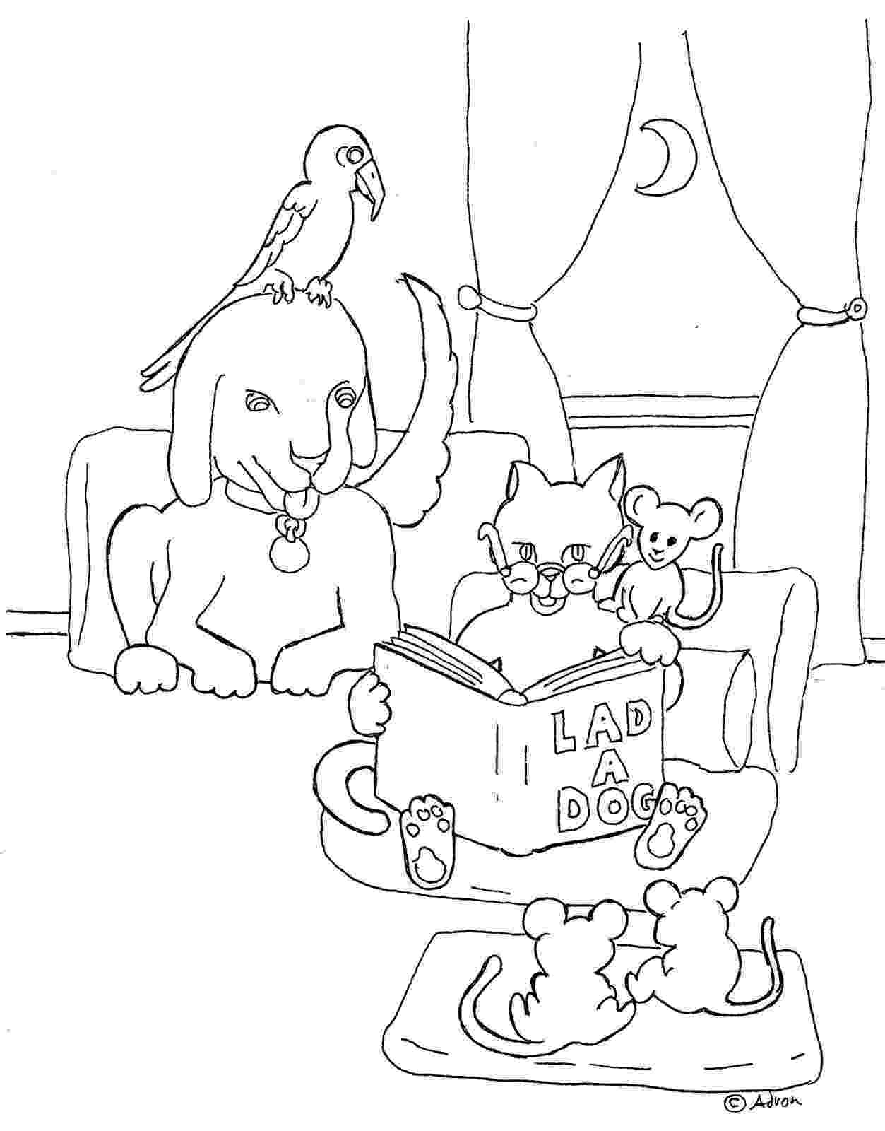 animal reading coloring page coloring pages for kids by mr adron cat reading book animal page reading coloring