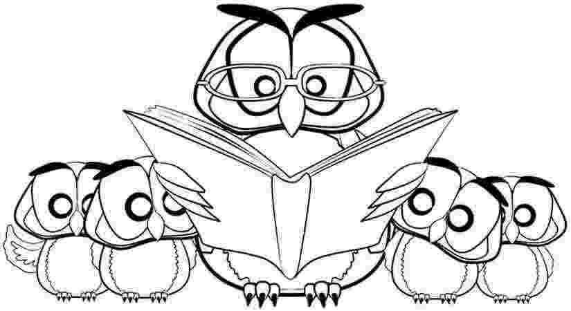 animal reading coloring page owl colouring pages clipart best animal reading coloring page