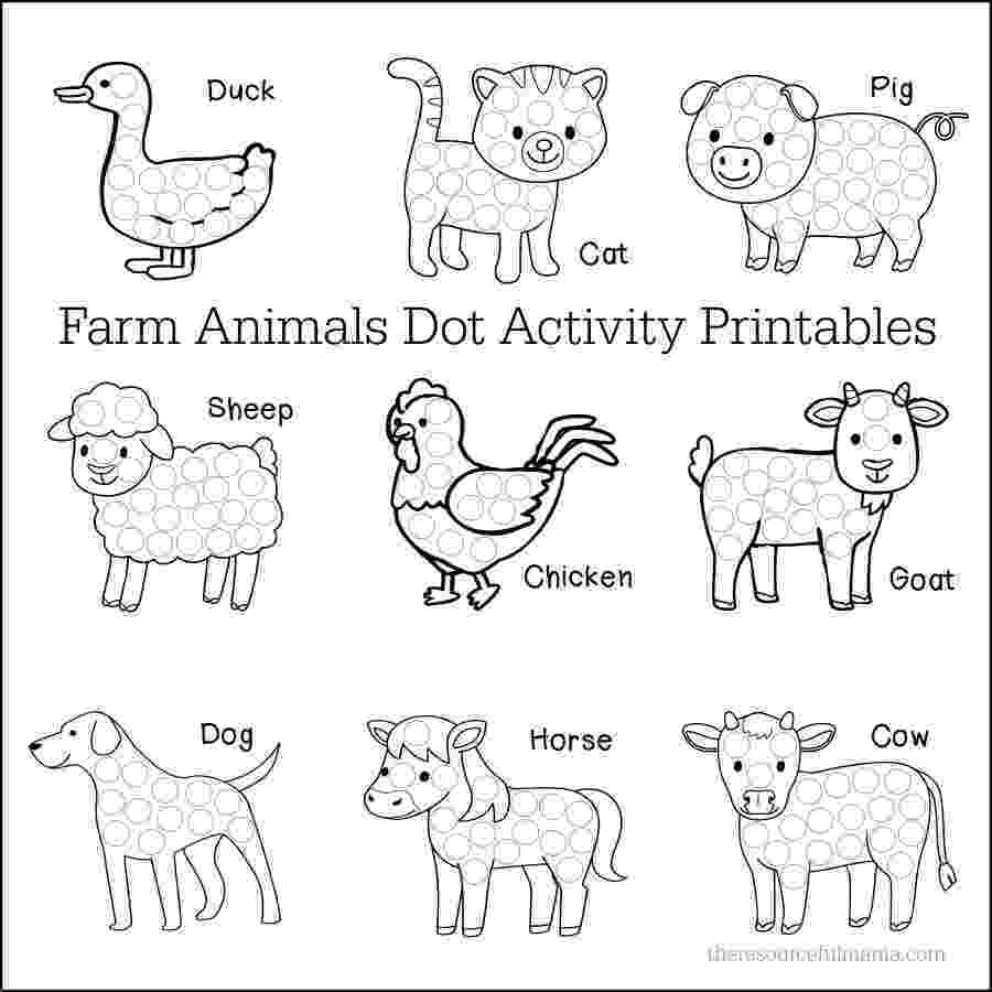 animals coloring worksheets for kindergarten farm animals dot activity printables the resourceful mama kindergarten coloring for worksheets animals