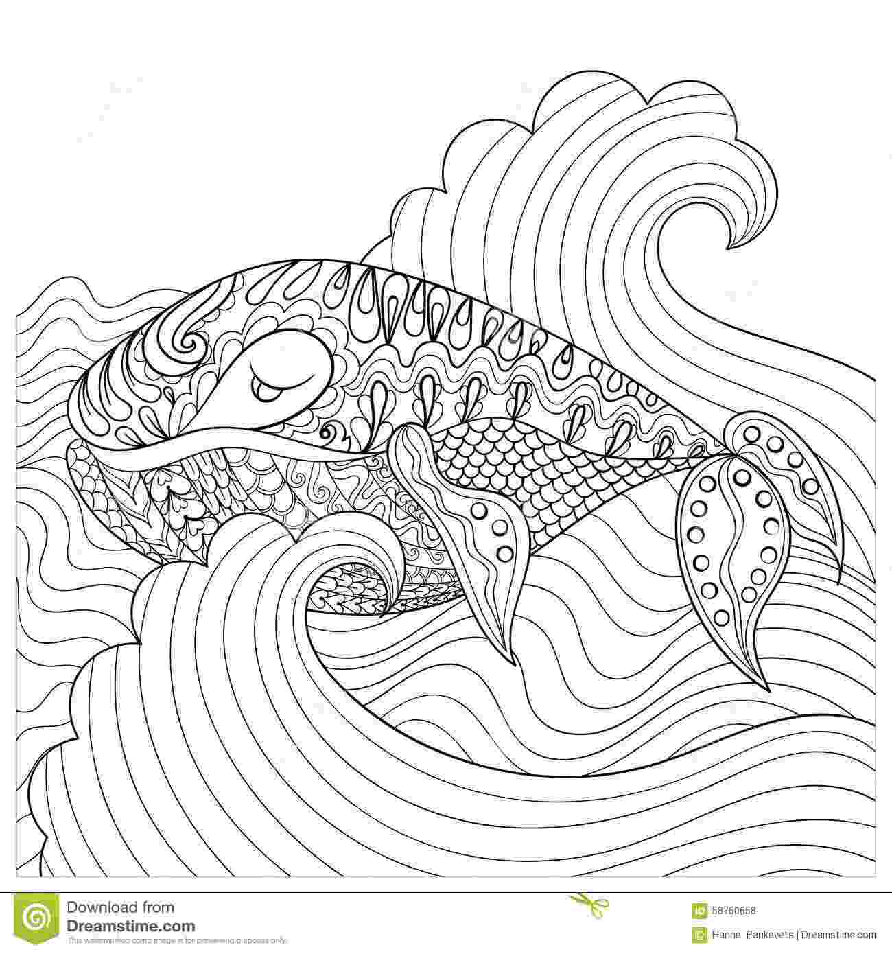 anti stress coloring book animals hand drawn whale in the waves for antistress coloring page book animals anti coloring stress