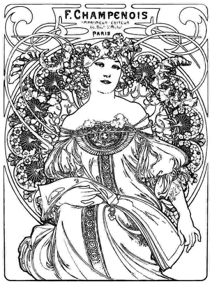 art nouveau coloring book online alphonse mucha coloring pages alphonse mucha coloring book coloring nouveau book online art