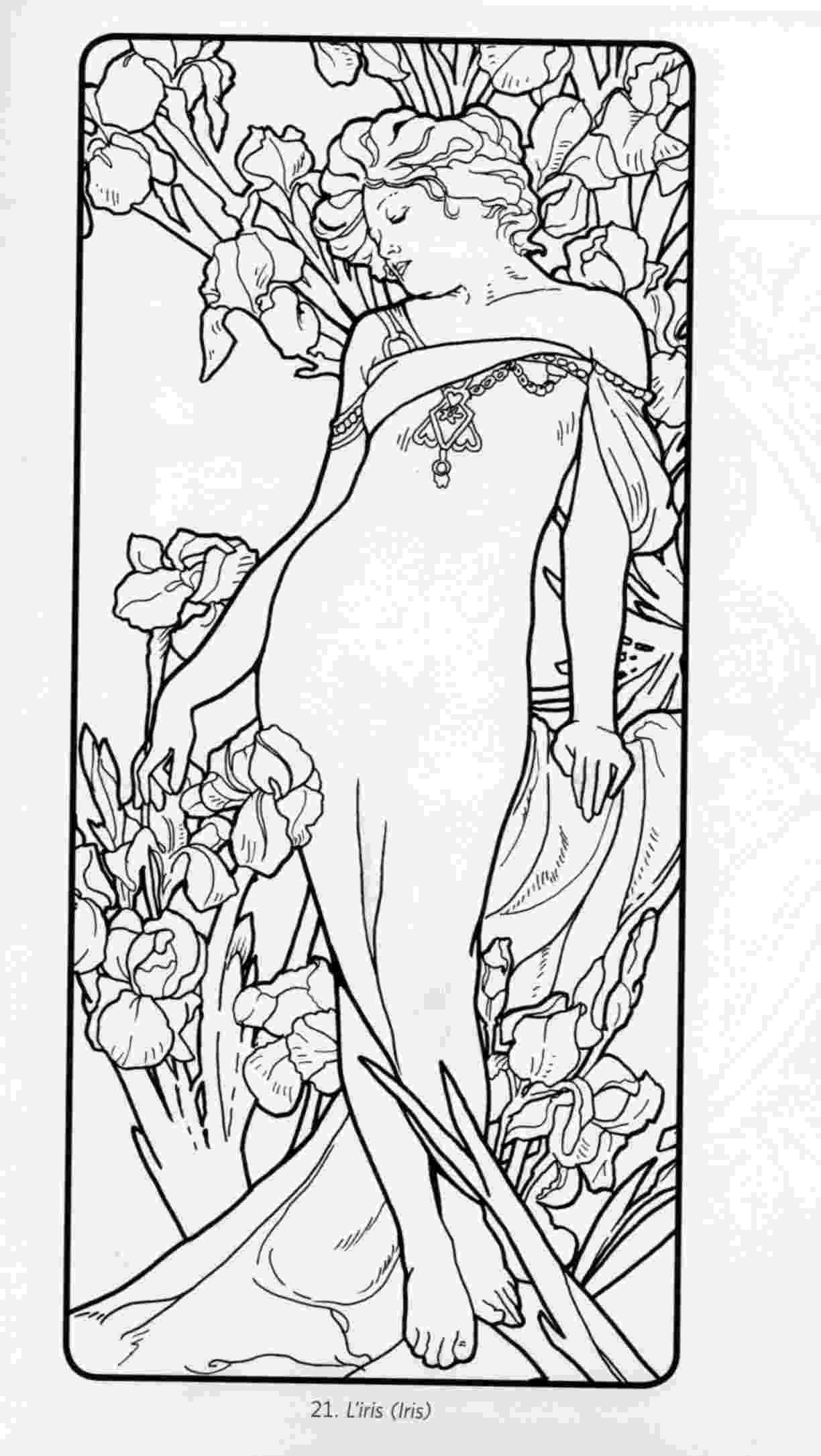 art nouveau coloring book online free coloring page coloring adult woman art nouveau style art online book coloring nouveau