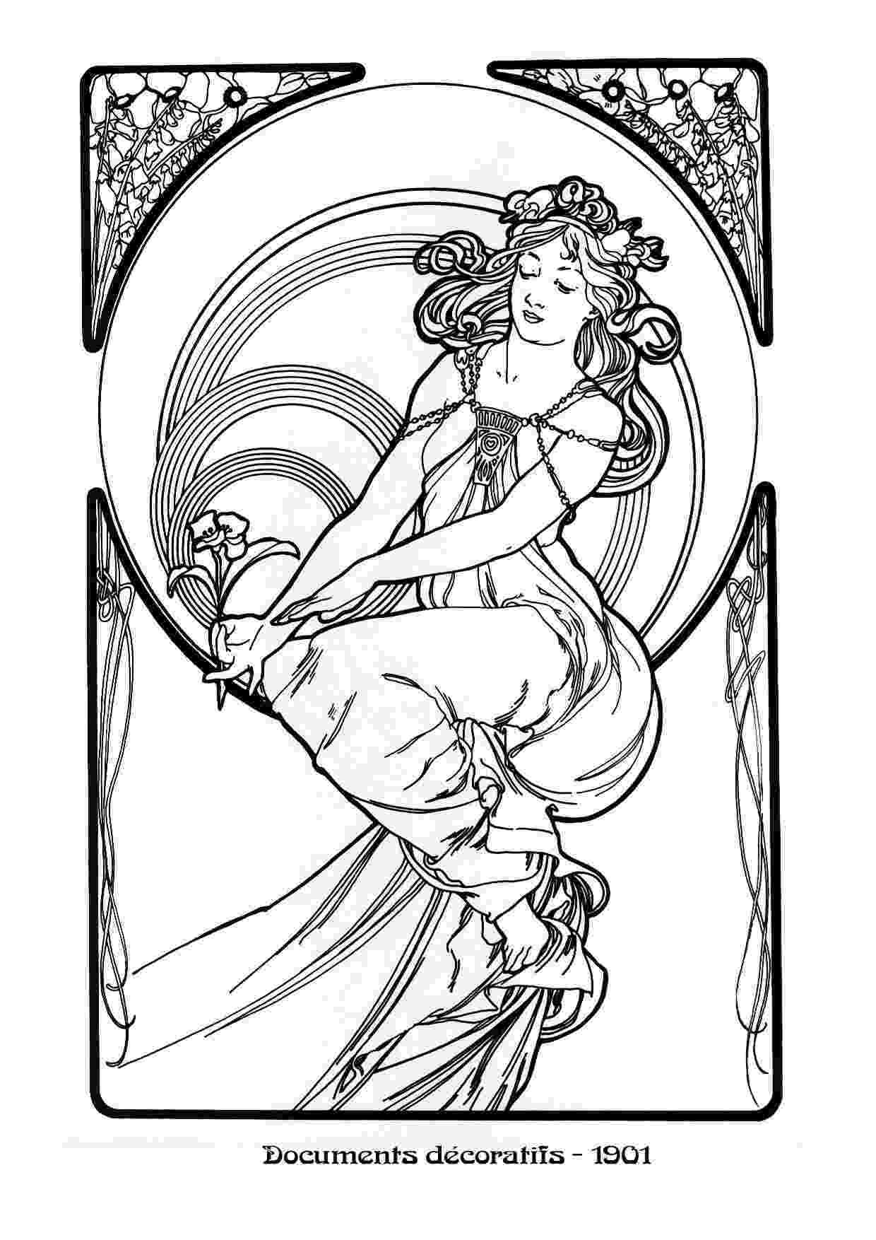 art nouveau coloring book online mucha black white04 dvdbash dvdbash online book coloring art nouveau