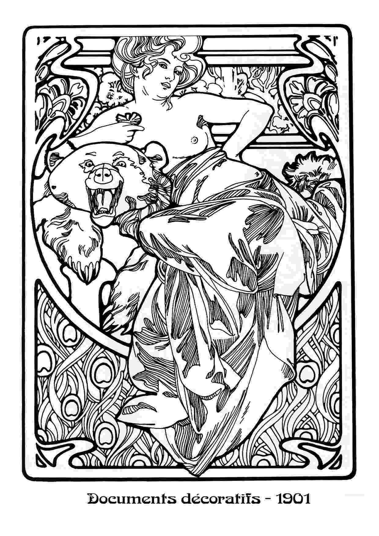 art nouveau coloring book online mucha black white24 dvdbash dvdbash nouveau book coloring online art