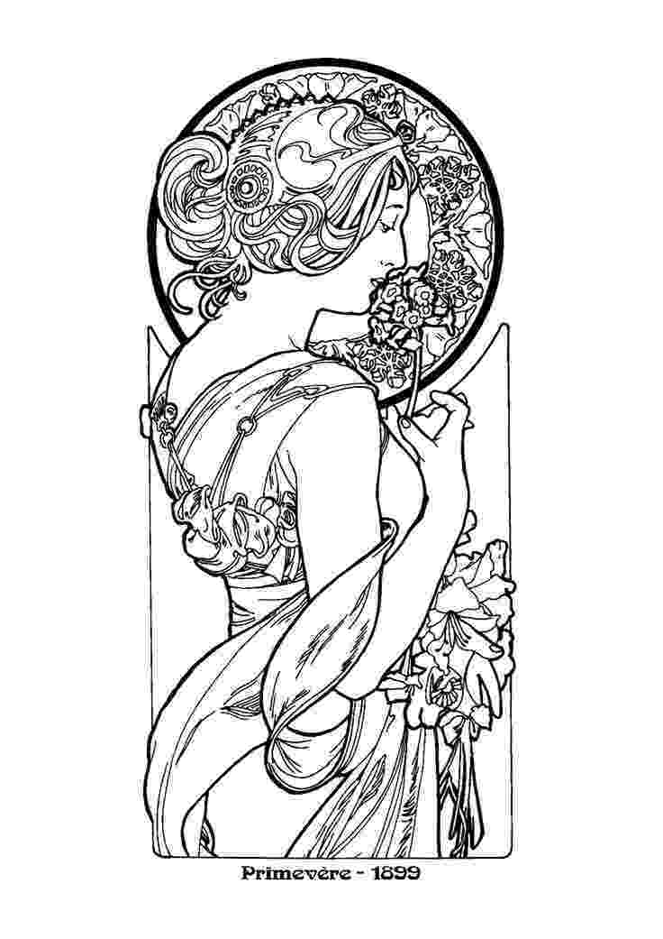 artistic coloring pages alphonse mucha line art alfons mucha39s art nouveau works pages artistic coloring