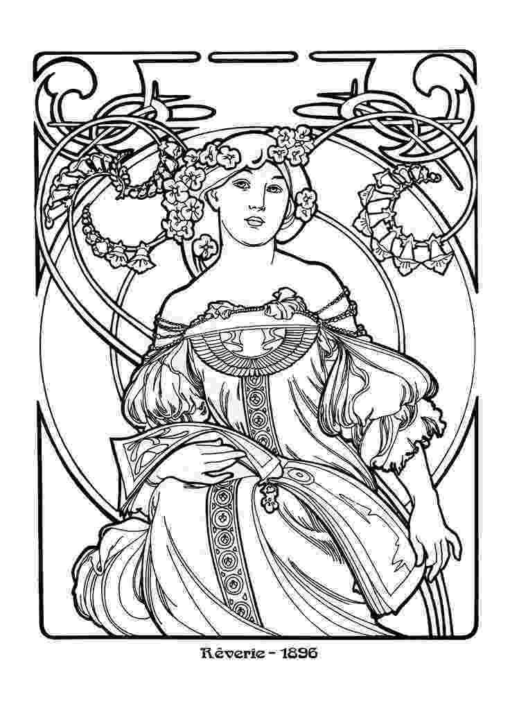 artistic coloring pages alphonse mucha zodiac art sketches alphonse mucha artistic coloring pages