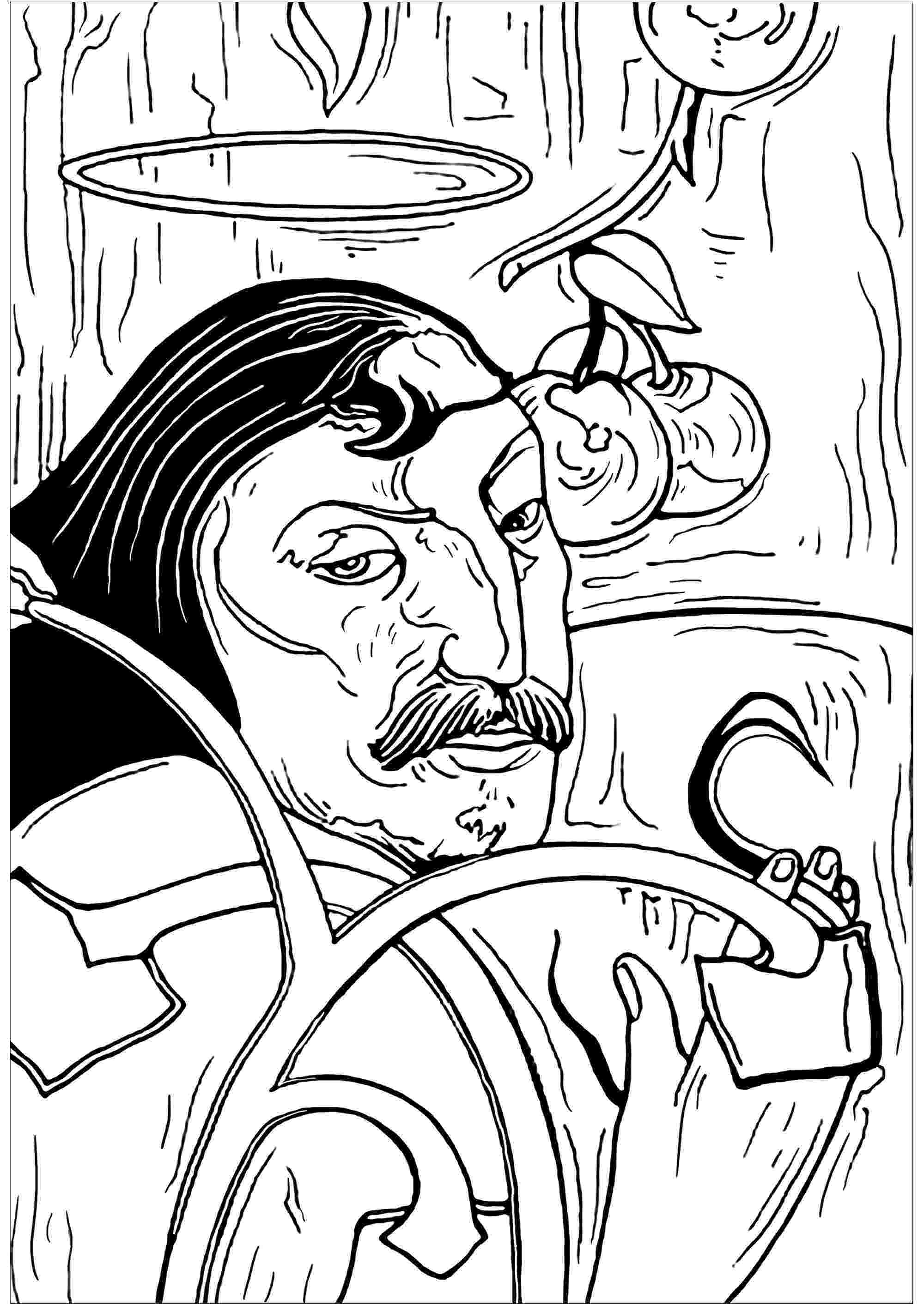artistic coloring pages paul gauguin self portrait with halo masterpieces pages artistic coloring