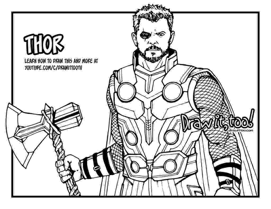 avengers thor colouring pages how to draw thor avengers infinity war drawing tutorial pages thor colouring avengers