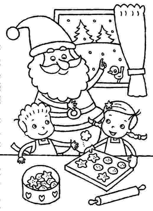 baking coloring pages santa claus and the kids baking christmas cookies coloring baking coloring pages