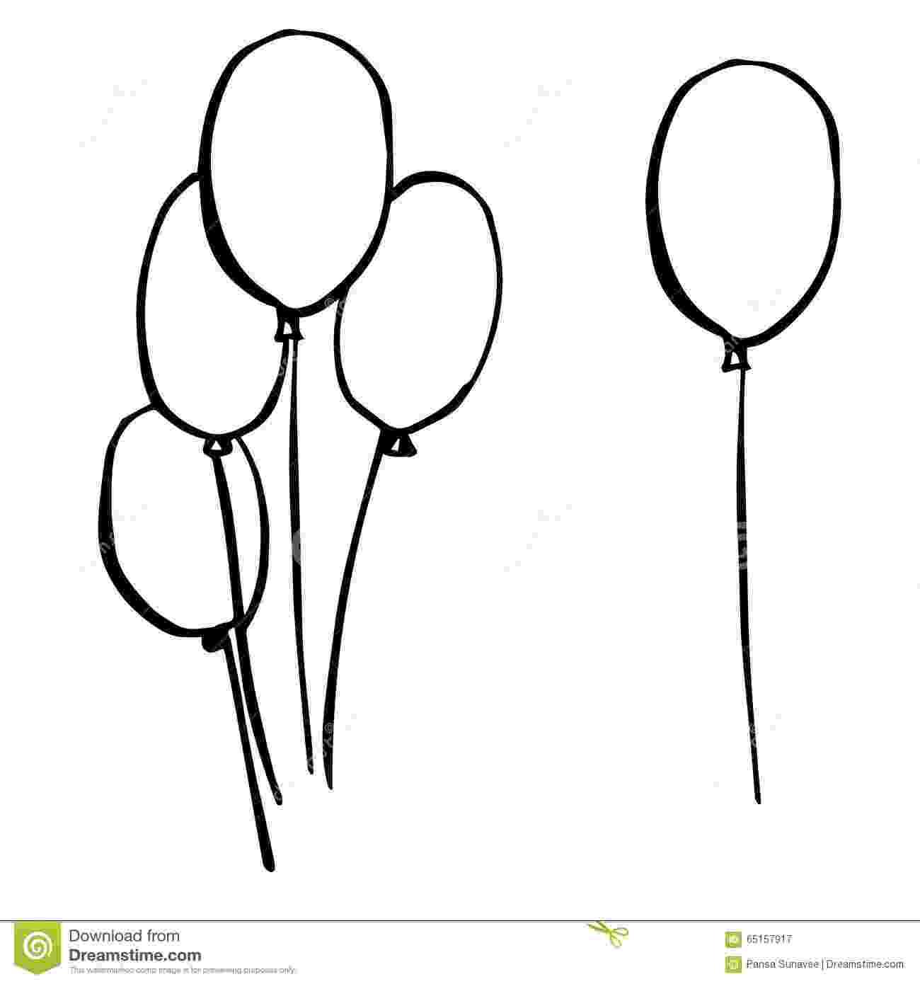 balloon sketch air balloon on a thread sketch vector isolated black stock balloon sketch