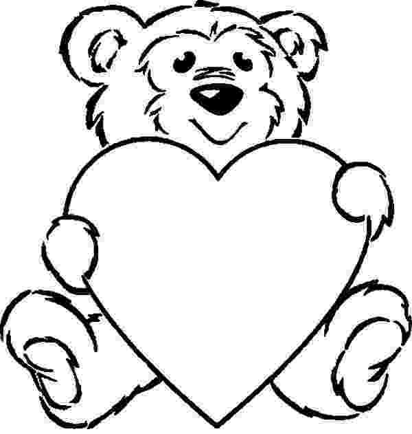 bear with heart clipart of a black and white lineart valentine teddy bear bear with heart