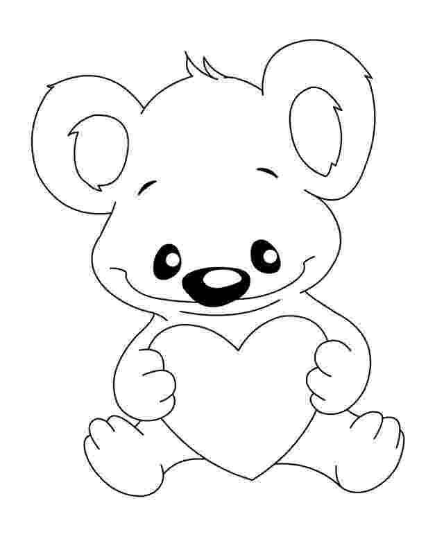 bear with heart cute bear with heart coloring page free printable with heart bear