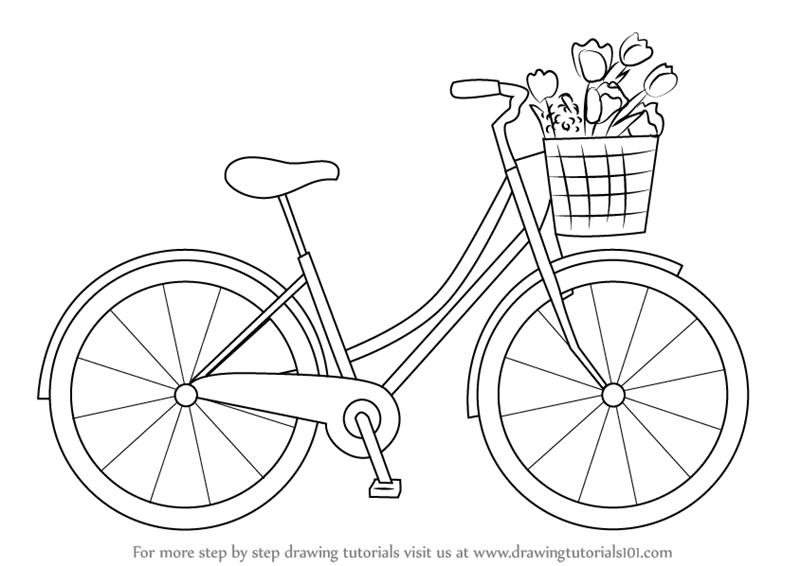 bicycle sketch learn how to draw a cute bicycle two wheelers step by bicycle sketch