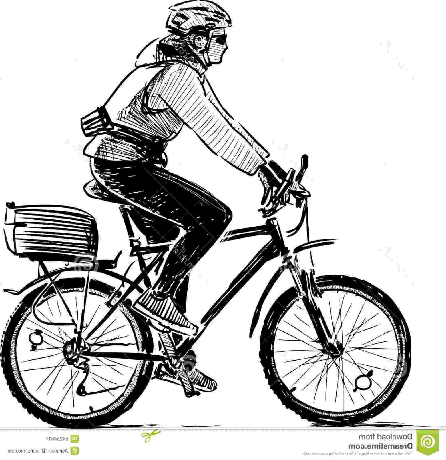 bicycle sketch stock illustration cyclist sketch vector drawing person bicycle sketch